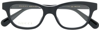 Gucci Bee Detail Rectangular-Frame Glasses