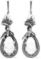 Alexander McQueen Silver-plated, Crystal And Faux Pearl Earrings
