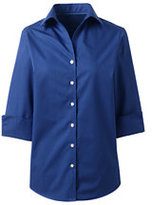 Lands' End Women's 3/4 Sleeve Tonal Stripe Dress Shirt-True Blue Tonal Stripe