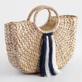 World Market Navy Blue and White Tassel Tote Bag