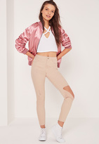 Missguided Petite High Waist Busted knee Jeans Nude