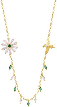 Gab+Cos Designs Yellow Gold Vermeil CZ Daisy & Bee Shaker Necklace