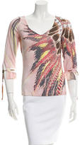 Roberto Cavalli Printed Three-Quarter Sleeve Top