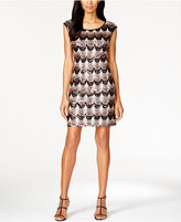 Connected Cap-Sleeve Sequin Scallop Dress