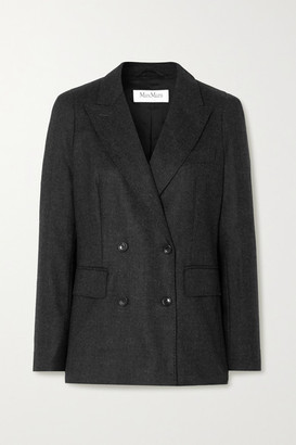 Max Mara Oblio Double-breasted Melange Wool-blend Blazer - Dark gray