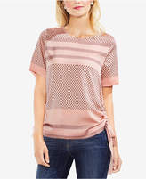 Vince Camuto Mixed-Print Side-Tie Top