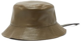 Loewe Anagram-patch Zipped-brim Leather Bucket Hat - Green