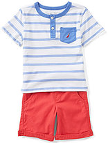 Nautica Little Boys 2T-4T Striped Henley Tee & Solid Shorts Set