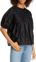 Merlette New York Hellebore Smocked Cotton & Silk Top