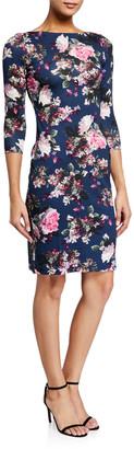 Erdem Reese Floral Print 3/4-Sleeve Dress, Blue/Pink