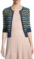 M Missoni Zigzag-Knit Short-Sleeve Cardigan