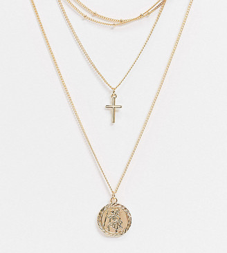 ASOS DESIGN Curve multirow necklace with dot dash chain choker and coin in gold tone