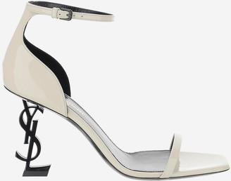 Saint Laurent Opyum White Patent Leather High Heel Sandals