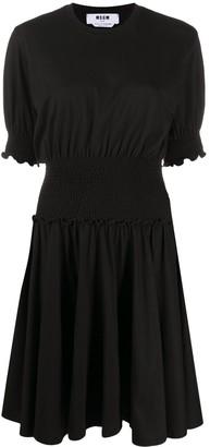 MSGM Smocked Waist Mini Dress