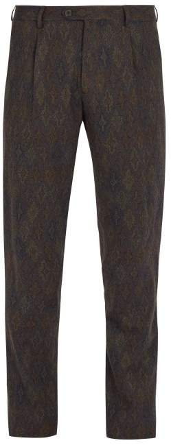 Etro - Tailored Wool Trousers - Mens - Brown