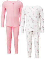 John Lewis Children's Bunny Rabbit Print Pyjamas, Pack of 2, Pink/White