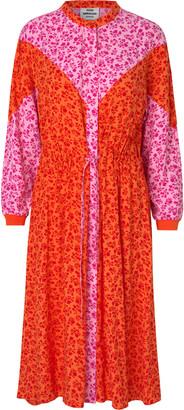Mads Norgaard Dripla Flower Jam Dress - 34 (8) | viscose | orange pink - Orange pink