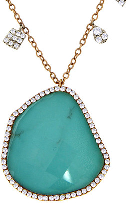 Meira T 14K Rose Gold & Silver 3.25 Ct. Tw. Diamond & Turquoise Necklace
