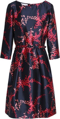 Oscar de la Renta Belted Printed Silk And Cotton-blend Twill Dress