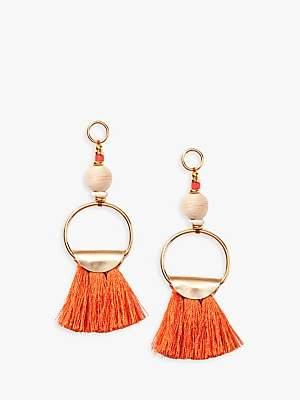 Nectar Nectar Silk Thread Tassel Ring Drop Earrings, Orange/Gold