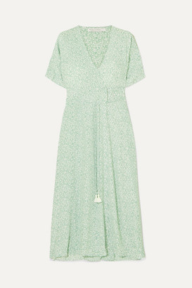 Faithfull The Brand Chiara Floral-print Crepe Wrap Midi Dress - Mint