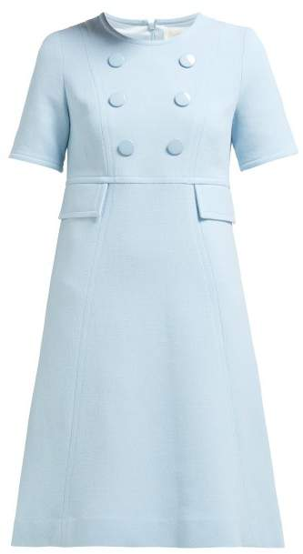 Goat Brigitte Wool-crepe Dress - Womens - Light Blue