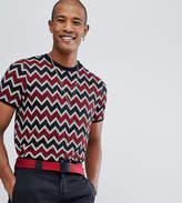 Reclaimed Vintage Inspired Ringer T-shirt In Black Zig Zag