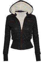 Women's Zip Up Detachable Hood Waist Length Bomber Jacket with Faux Fur Inside