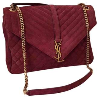 Saint Laurent College monogramme Burgundy Suede Handbags