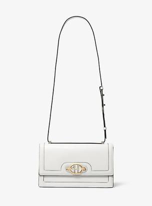 Michael Kors Monogramme Leather Accordion Shoulder Bag - Optic White