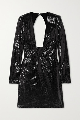 Dundas Open-back Sequined Chiffon Mini Dress - Black