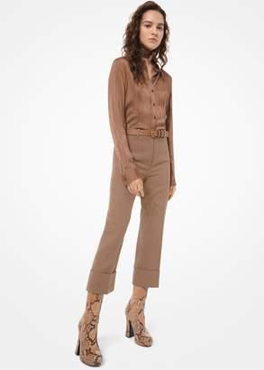 Michael Kors Herringbone Wool-melton Cuffed Trousers