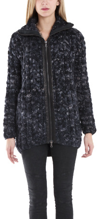 Yigal Azrouel Space Dyed Cable Knit Cardigan In Ink Melange