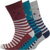 Original Penguin Mens Three Pack Socks Dress Blue/Tawny Port/Grey