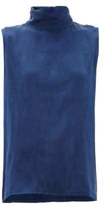 Worme - High-neck Silk Blouse - Womens - Dark Blue