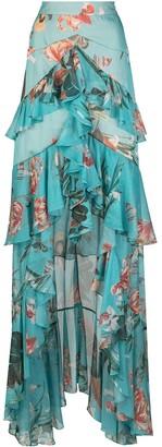 PatBO Long Ruffled Floral Print Skirt