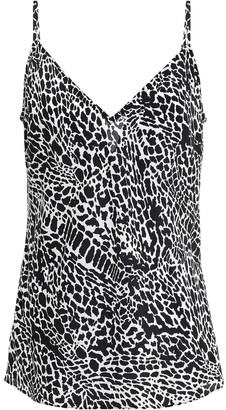 Frame Printed Silk Crepe De Chine Camisole