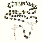 R. Heaven Black glass metallic paint 55cm length rosary beads
