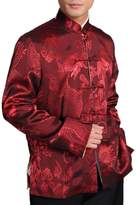 Interact China Chinese Tai Chi Kungfu Reversible Red / Gold Jacket Blazer 100% Silk Brocade