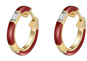 Camilla Red Ceramic Diamond Huggie Earrings