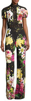 Naeem Khan Short-Sleeve Mock-Neck Floral Jumpsuit, Black Pattern
