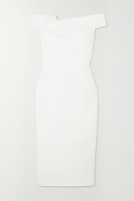 Roland Mouret Monamy Off-the-shoulder Wool-crepe Midi Dress - White
