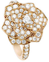 Piaget Rose Ring with Pavé Diamonds in 18K Red Gold, Size 7