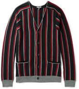 Lanvin Striped Brushed Merino Wool Cardigan - Black