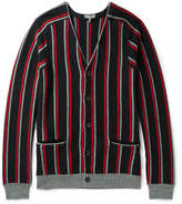 Lanvin Striped Brushed Merino Wool Cardigan