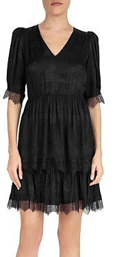 The Kooples Coffy Embossed Lace Trim Dress