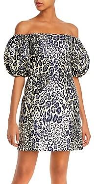 Aidan Mattox Off-the-Shoulder Metallic Leopard Mini Dress