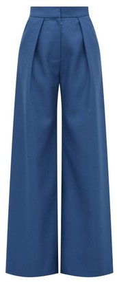 Vika Gazinskaya High-rise Wool-twill Palazzo Trousers - Blue