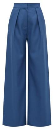 Vika Gazinskaya High-rise Wool-twill Palazzo Trousers - Womens - Blue