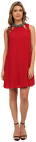 Brigitte Bailey Shift Dress with Mock Neck and Cut Out Front Key Holes